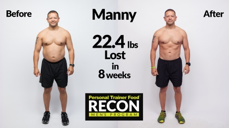 Manny's before and after RECON shots, lost 22.4 pounds in 8 weeks. Now you can see his abs!