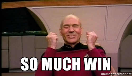 Captain Picard says so much win with these non-scale victories!